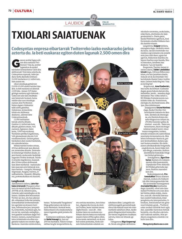 Txiolari saiatuenak 2016, Diario Vascon